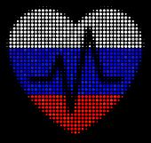 Halftone Cardiology Pictogram Colored In Russian Official Flag Colors On A Dark Background. Vector M poster