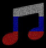 Halftone Music Notes Icon Colored In Russia State Flag Colors On A Dark Background. Vector Pattern O poster