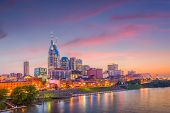 Nashville, Tennessee, USA downtown city skyline on the Cumberland River. poster