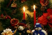 One Christmas Wreath, One Stuffed Snowman And One Stuffed Teddy Bear