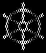 Dotted White Boat Steering Wheel Icon On A Black Background. Vector Halftone Illustration Of Boat St poster