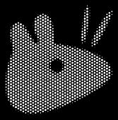 Dot White Mouse Head Icon On A Black Background. Vector Halftone Composition Of Mouse Head Icon Crea poster