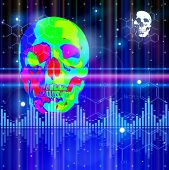 Thermal image of the human skull, blue technology background, lights, chemical formulas & digital wave. Bitmap copy my vector ID 73068157