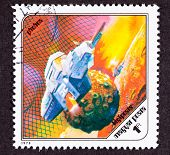 Post Stamp Space Ship Around Phobos, Martian Moon