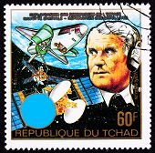 Chad Postage Stamp Wernher Von Braun Earth Outer Space Shuttle