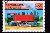 Guinea Train Postage Stamp Old Railroad Steam Engine Locomotive