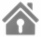 Dot Black Home Keyhole Icon. Vector Halftone Mosaic Of Home Keyhole Pictogram Done From Circle Items poster