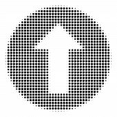 Dotted Black Rounded Arrow Icon. Vector Halftone Pattern Of Rounded Arrow Icon Constructed From Roun poster