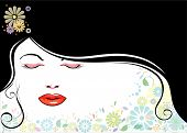 stock photo of sleeping beauty  - vector file of beautiful girl and black hair - JPG