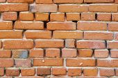 Red Brick Wall Texture Grunge Background With Vignetted Corners, May Use To Interior Design poster