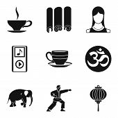 Spiritual Equilibrium Icons Set. Simple Set Of 9 Spiritual Equilibrium Vector Icons For Web Isolated poster