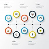 Audio Icons Colored Line Set With Soundtrack, Vinyl, Fanatic And Other List Elements. Isolated  Illu poster