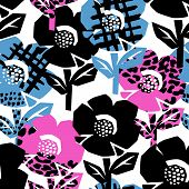 Exotic Flowers Seamless Pattern. poster