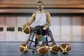 Disabled Sport Men Relaxation While Playing Basketball poster