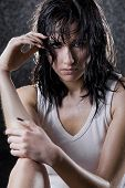 picture of femenine  - intimate image of a sexy young woman under the rain - JPG