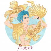 Zodiac. Vector Illustration Of The Astrological Sign Of Pisces As A Beautiful Man With A Naked Torso poster