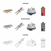 Drawing Accessories, Metropolis, House Model. Architecture Set Collection Icons In Cartoon, Outline, poster