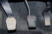 Car Clutch, Brake, Accelerator Of Car. Pedals Of Car. Auto Pedal Brake, Clutch And Accelerator. poster