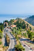 View On Town Taormina And Resort Giardini Naxos, Sicily
