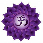 Sahasrara Chakra. Seventh, Crown Chakra Symbol. Isolated Vector Icon poster