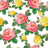 Bouquet.beautiful Seamless Pattern With Pink, Yellow Roses On A White Background.vector Illustration poster