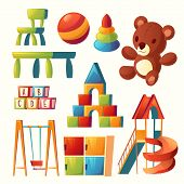 Vector Set Of Cartoon Toys For Children Playground, Kindergarten. Teddy Bear, Ball With Other Elemen poster