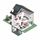 Contemporary Energy Efficient Isometric House Cross Section And Room Interiors On White Background,  poster