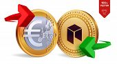 Постер, плакат: Neo To Euro Currency Exchange Neo Euro Coin Cryptocurrency Golden Coins With Neo And Euro Symbol