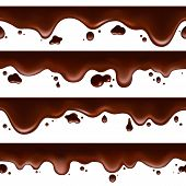 Dripping Melted Chocolate. Vector Horizontal Seamless Fondant Melting Bitter Chocolate Isolated On W poster