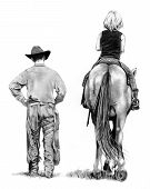 image of horse riding  - My pencil drawing of a cowboy walking alongside a young girl seated on a horse - JPG