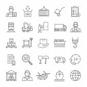 Cargo Shipping Linear Icons Set. Delivery Service. Land, Air And Water Transportation. Thin Line Con poster