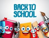 Back To School Vector Characters Background Template With Colorful Funny School Cartoon Mascots Like poster