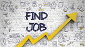 White Wall With Find Job Inscription And Orange Arrow. Development Concept. Find Job - Increase Conc poster