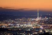 Night view of the Taipei city, Taiwan