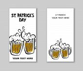 Set Of St. Patricks Day Party Flyers.  Illustration Of A Beer Mugs With Lettering St. Patricks Day poster