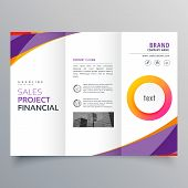 Creative Trifold Brochure Template With Purple And Orange Wave Shapes poster