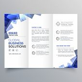 Elegant Trifold Brochure With Abstract Blue Shapes poster