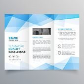 Abstract Blue Geometric Trifold Brochure Design Template poster