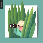 Simple Things - A Hunter In The Ambush Of High Grass With A Pair, Summer Postcard, Flat Cartoon Vect poster