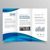 Blue Wave Trifold Business Brochure Design Template poster