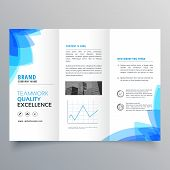 Trifold Brochure Template Design With Abstract Blue Shapes poster
