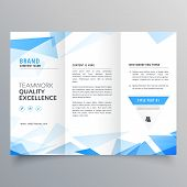 Abstract Blue Shape Trifold Business Brochure Design poster
