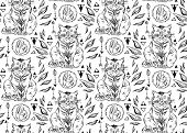 Hand Drawn Vector Seamless Black And White Line Cute Cats Pattern.cat Art Background.cat With Hand,  poster