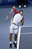 BUKIT JALIL, MALAYSIA- OCT 01: Japan's Kei Nishikori serves the ball in this Malaysian Open semi-fin