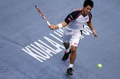 BUKIT JALIL, MALAYSIA- OCT 01: Japan's Kei Nishikori attempts a return in this Malaysian Open semi-f