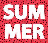 Summer. Watermelon Seads Red Background. Symbol Of Summer. Summrer Card. poster