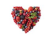 Heart Shape Assorted Berry Fruits On White Background. Berries In Heart Shape Isolated On A White. R poster
