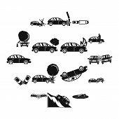 Accident Car Crash Case Icons Set. Simple Illustration Of 16 Accident Car Crash Case Vector Icons Fo poster