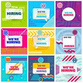 We Are Hiring Template, Banner Design Or Poster. Set Of Job Vacancy Advertisement Concepts In Memphi poster
