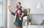 Fathers Day. Happy Family Daughter Hugs His Dad poster